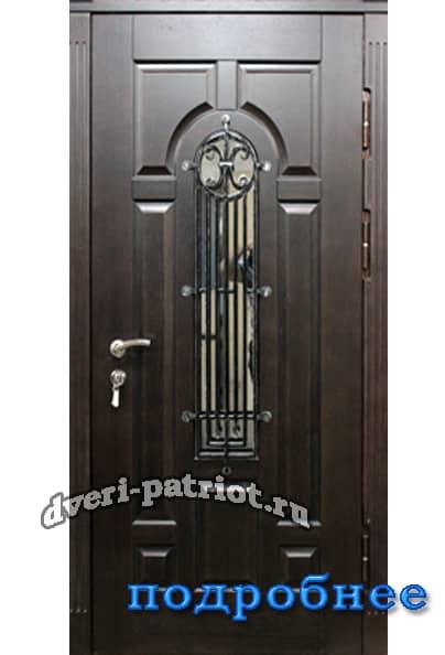 входная дверь с решеткой и стеклопакетом