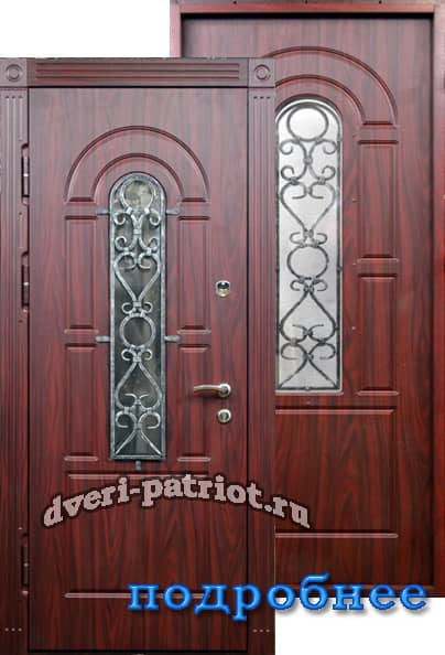 металлические двери со стеклопакетом и решёткой